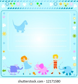 colorful background for kids with happy children and colorful flowers