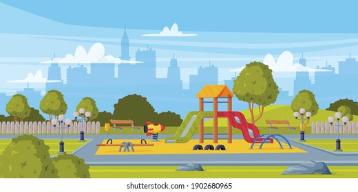 Colorful Background with Kids Playground as Urban Summer Public Area for Playing Vector Illustration