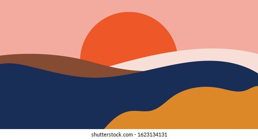 Colorful background with landscape, abstract mountains.  Abstract colored backdrop with hand-drawn elements or curves. Creative vector illustration  - poster design. - Shutterstock ID 1623134131