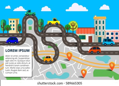 Colorful background with landscape, road and city map. Top view city map with cars and trees for web banners, info graphic and  brochure. Vector illustration