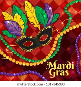Colorful background with Mardi Gras mask, beads and feathers, for poster, template, flyer. Vector image, eps10