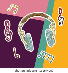 Colorful Background with musical elements (headphones)