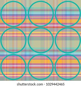 Colorful background in plaid pattern with green line circles over it. Design for printing on textile and paper material.
