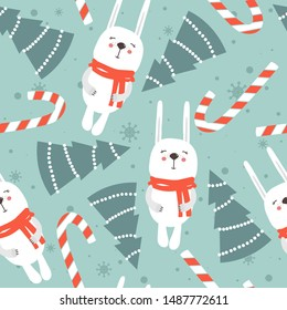 Colorful background with rabbits, fir trees, candy canes, snow. Decorative cute backdrop vector. Happy New Year, seamless pattern with animals. Winter time