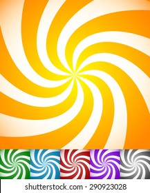 Colorful background set with swirling, rotating, twirling stripes, lines. Bright orange, green, blue, red, purple colors and a grayscale version.