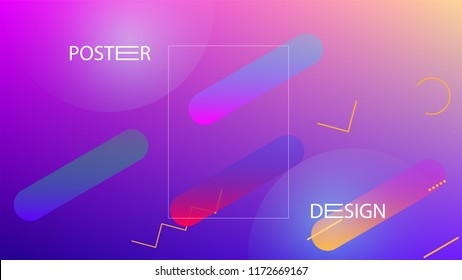 Colorful Background with Simple Fluid Shapes. Holographic Colour Gradient. Trendy Abstract Background. Vector Illustration.