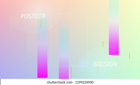 Colorful Background with Simple Fluid Shapes. Holographic Colour Gradient. Modern Abstract Background. Vector Illustration.