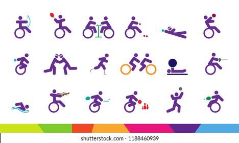 Colorful background for sport Of Disabled Athletes competition 2018. sport celebration game, suitable for flyer, brochure, banner design. vector illustration