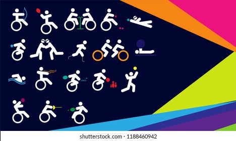 Colorful background for sport Of Disabled Athletes competition 2018. sport celebration game, suitable for flyer, brochure, banner design. vector illustration