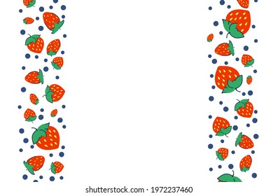 Colorful background with strawberries and blueberries. Vegetarian posters with organic berries. Place for your text. Vector illustration - Shutterstock ID 1972237460