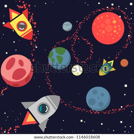 colorful background template planets space stars stock vector