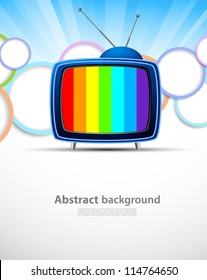 Colorful background with tv. Abstract bright illustration