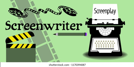 Colorful background with typewriting machine, clapperboard, film reel, filmstrip, pencil and the word screenwriter written with black letters