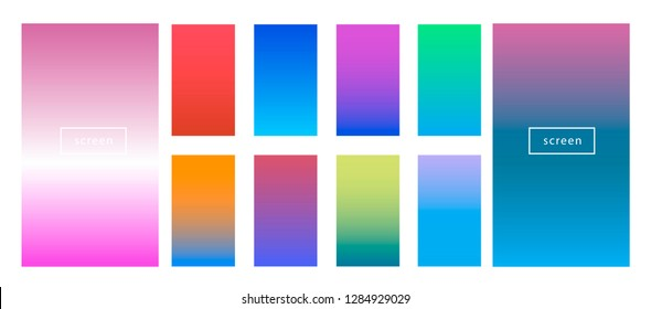 Colorful backgrounds in trendy neon colors: UFO Green, Plastic Pink, and Proton Purple, Electric Blue. Modern screen vector design for mobile app. Soft color abstract gradients.