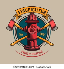 Colorful badge with fire hydrant vector illustration. Vintage label with crossed axes and red hydrant. Emergency and firefighting concept can be used for retro template
