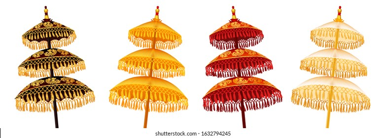 Colorful Balinese style traditional religious three-tiered umbrellas set isolated on white background, vector decoration elements illustration