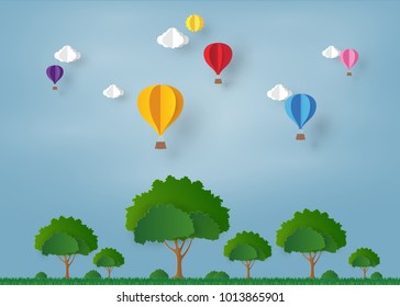 colorful Ballon and Cloud in the blue sky,tree on the grass  with paper art design , vector design element and illustration