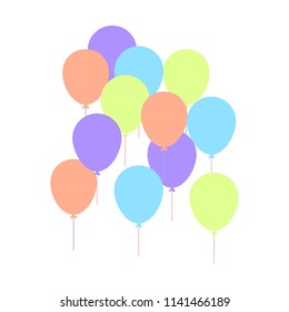 Colorful Balloon in flat style carnival happy surprise helim string. Air balloons isolated on white background. Balloons set a group for a birthday party anniversary celebration.