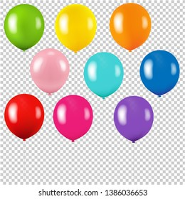 Colorful Balloon Isolated Transparent Background With Gradient Mesh, Vector Illustration