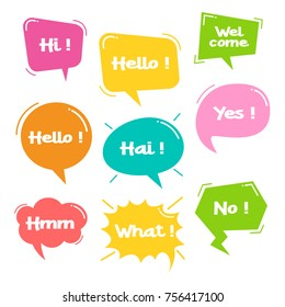 Colorful balloon speech bubbles set with short messages vector illustration