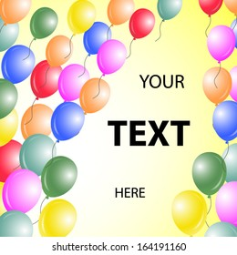 Colorful balloons background your text here illustration