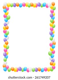 Colorful balloons border / frame illustration for birthday cards and party backgrounds