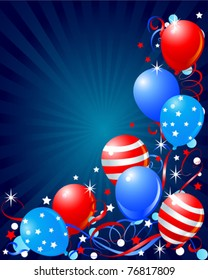 Colorful Balloons card for Fourth of July