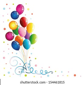 Colorful balloons with confetti