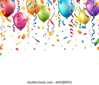 Colorful balloons, confetti and streamers on white background. Vector illustration.