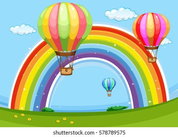 Colorful balloons flying over the rainbow illustration