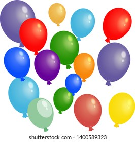 Colorful balloons. Illustration isolated on transparent background.