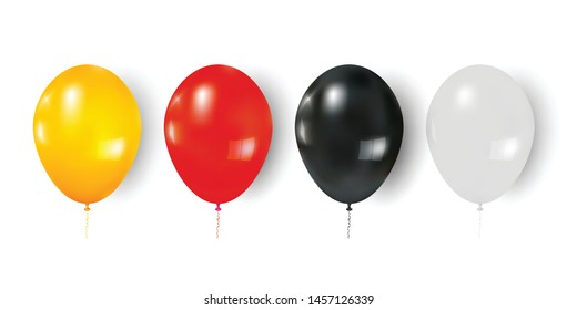 colorful balloons isolated on white background as celebrate and party concept. vector illustration.