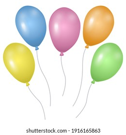 Colorful balloons isolated on white background. Template for postcard, banner, poster, web design. Hand Drawn vector illustration.