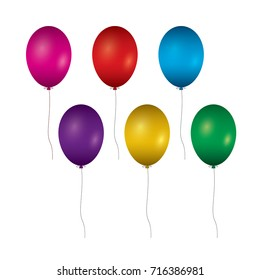 Colorful balloons isolated on white background. Vector Illustrat
