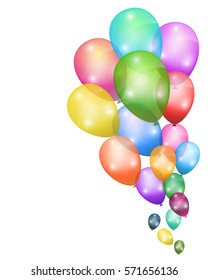Colorful Balloons on White Background. vector