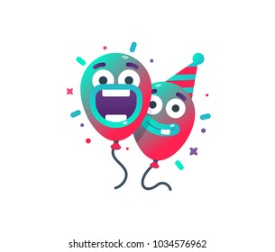 Colorful balloons in party hat for Birthday parties and anniversary. Minimal birthday Party Invitation Card Template. Happy vector gradient balloons in modern style. Two friends celebrate.