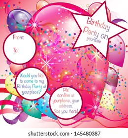 Colorful Balloons Party Invitation card for Girl