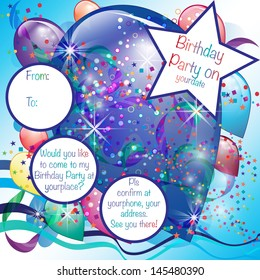 Colorful Balloons Party Invitation card for Boy