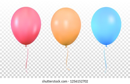Colorful balloons. Realistic vibrant colorful helium balloons with ribbons. Isolated ballon.