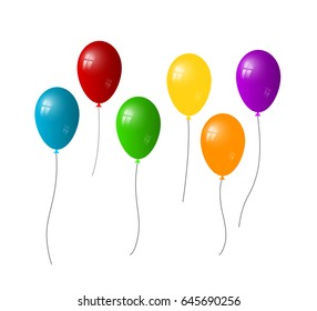 colorful balloons set on a white background. Vector, eps10