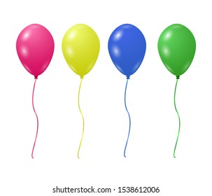 Colorful balloons with strings in the vector