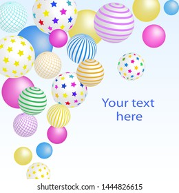 Colorful balls 3D balls. Vector illustration. Abstract modern design. Children party background. Birthday background.