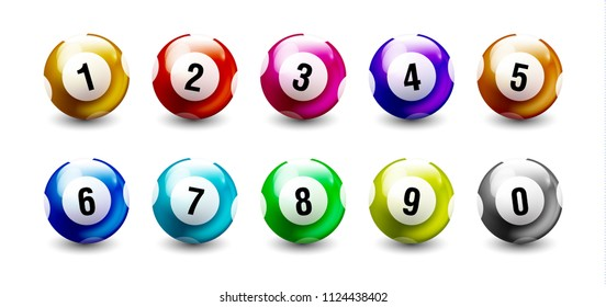 Colorful Balls isolated on white background from 0 to 9.