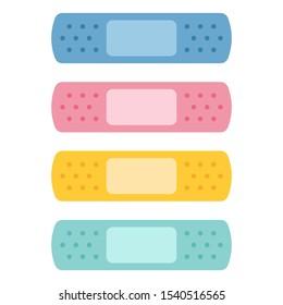 Colorful bandaids set isolated over white background
