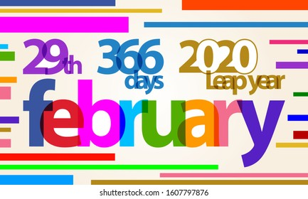 colorful banner background february, 29th, 366 days , 2020 leap year