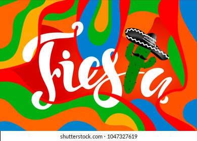 Colorful banner with cactus and hand drawn phrase Fiesta! Creative vector illustration.
