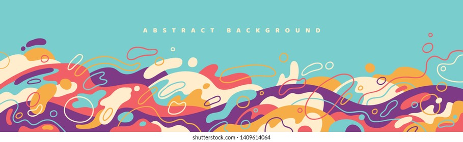 Colorful banner design in abstract style made of various fluid shapes. Vector illustration.