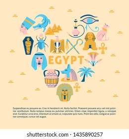 Colorful banner with Egypt icons in flat style. Eagle national symbol, pharaoh, Sphinx and pyramids. Vector illustration with place for text.