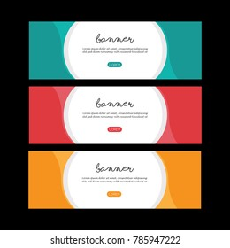 Colorful banner set design. Simple poster template. Abstract design