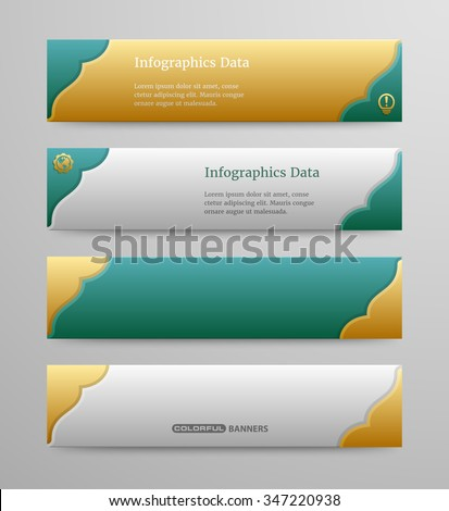 colorful banners template 3 d islamic design stock vector royalty